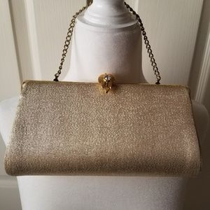 Vintage 80's disco to evening gold sparkle purse